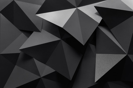 Macro image of polygonal shapes of paper, three-dimensional effect, abstract background Stock Photo