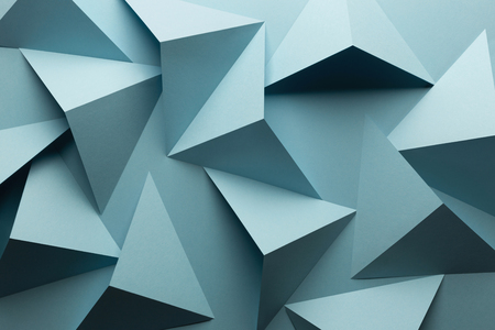 Macro image of light blue geometric shapes, three-dimensional effect, illustration, abstract background