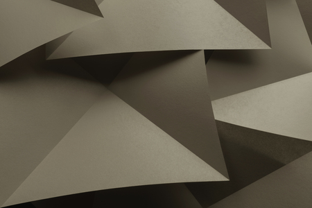 Macro image of paper folded in geometric shapes, abstract