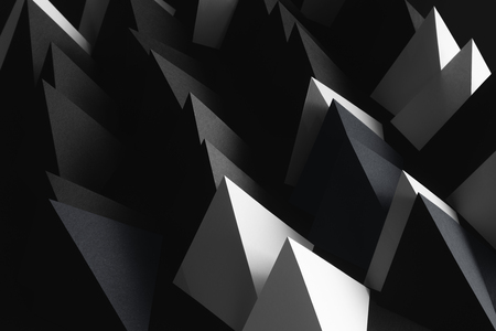 Geometric shapes of white and black paper, dark abstract background Banco de Imagens - 120066441