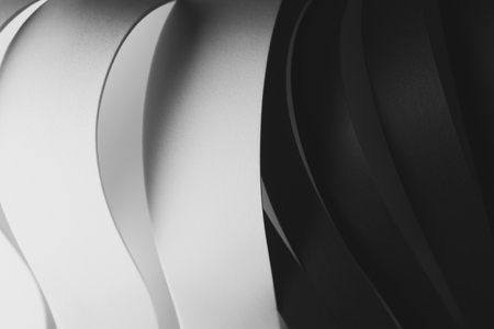 Black and White curved elements, abstract background Stock Photo