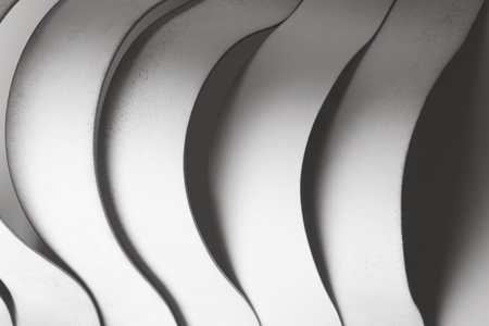 Composition with architectonic curved elements, white abstract background