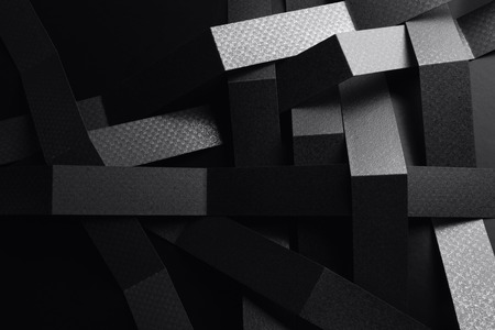 Creative image with black stripes of paper, abstract background Stock Photo