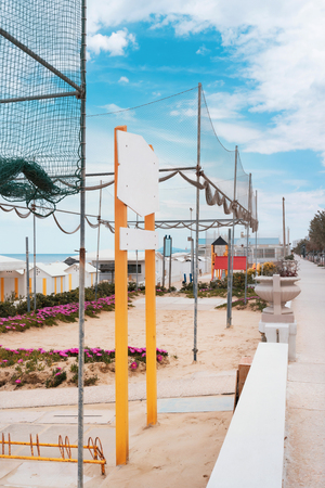 Beach playground, seafront and volleyball nets, sea view Stock Photo