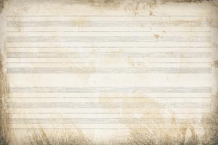 Noten, altes Papier gestreift und gealtert, Texturhintergrund