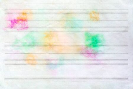 Sheet music without notes with colorful stains, texture background Reklamní fotografie