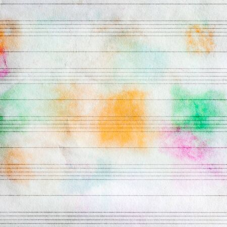 Sheet music without notes with colorful stains, texture background