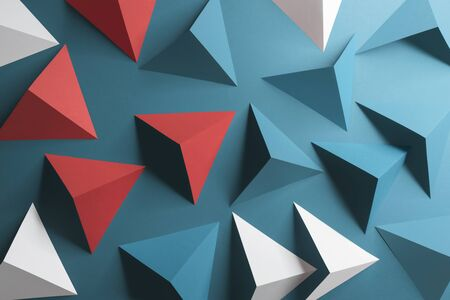 Triangular shapes of paper on blue background, abstract 3d illustration Zdjęcie Seryjne - 134181819