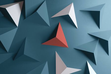 Triangular shapes of paper on blue background, abstract 3d illustration