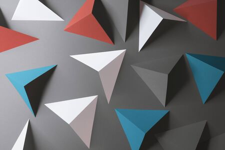 Triangular elements of paper, abstract 3d illustration Zdjęcie Seryjne