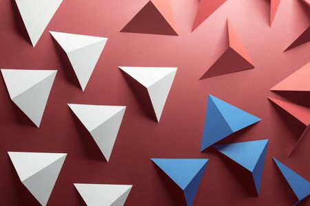 Red and white triangular shapes of paper, abstract 3d illustration