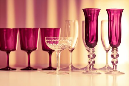 Home decor, various glasses on the table, close-up