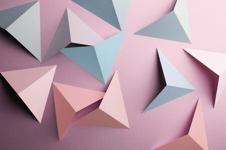 Abstract pattern made of colored paper, triangular shapes