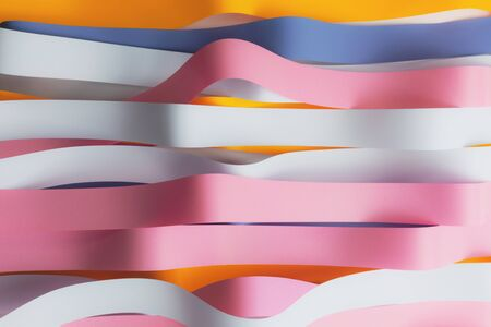 Colorful ribbons on white background; abstract