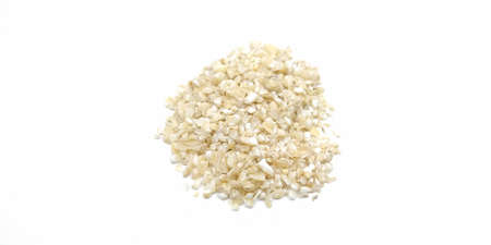 A picture of split wheat on white background