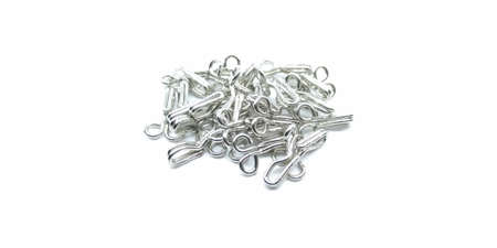 A picture of stainless steel hooks on a white background Banco de Imagens - 131571064