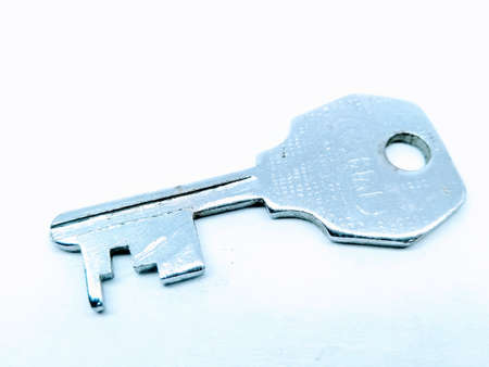 A picture of steel key isolated on white background