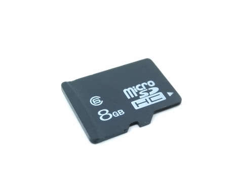 A picture of eight GB memory card on a white background