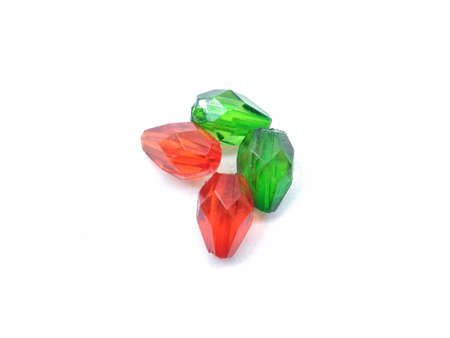 A picture of green and red diamonds isolated on white background