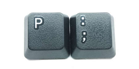 A picture of keyboard keys on white background Stock Photo