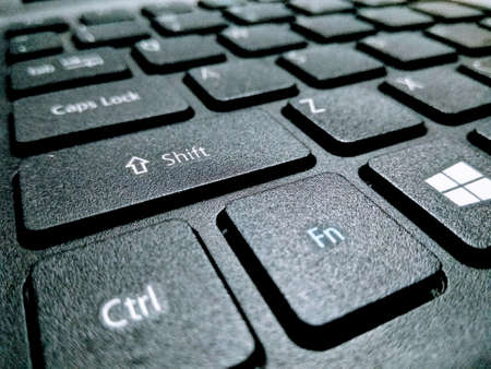 A picture of laptop keyboard with blur background
