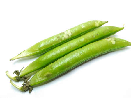A picture of pea pods isolated on white background