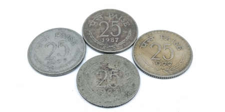 A picture of twenty-five paise coins on a white background