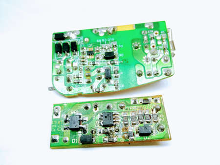A picture of two electric circuit board on white background Stok Fotoğraf