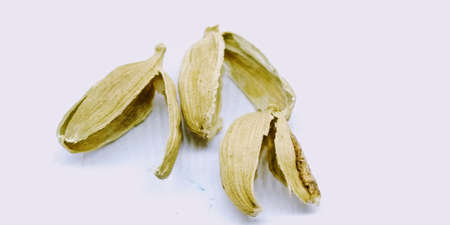 A picture of Cardamom rinds isolated on a white background