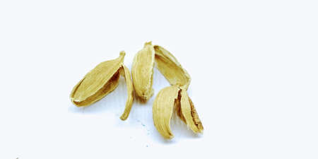 A picture of Cardamom rinds isolated on white background