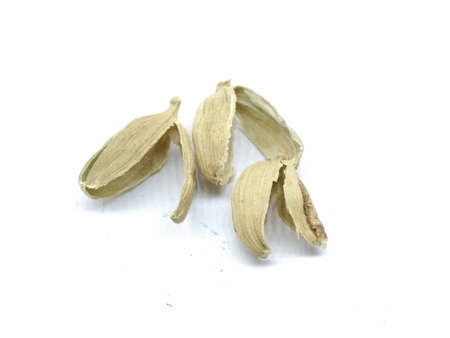 A picture of Cardamom rinds on white background
