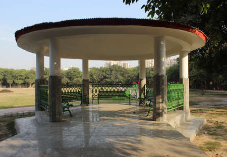 A picture of sitting area in garden