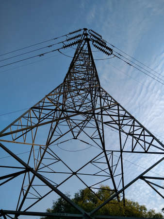 A picture of electric tower with selective focus