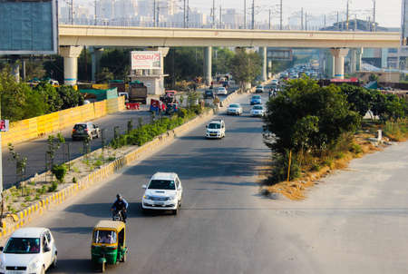A picture of Traffic on highway with cars