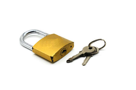 A picture of padlock isolated on white background