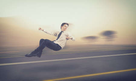 imaginary line: Teenager drive an invisible car on the road with high speed.