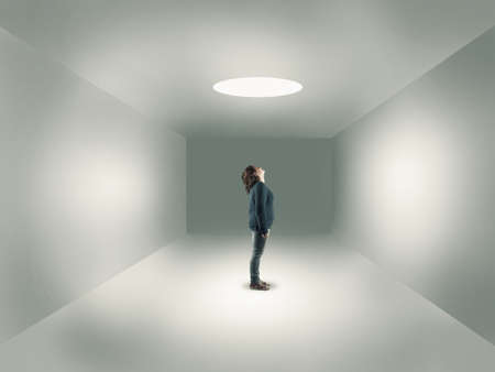 succes: Young girl in center of a room looking up through a hole, izolated in a room