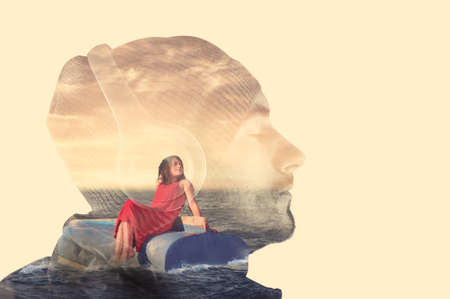 afloat: Double exposure with a man listening music on headphones and a little girl afloat