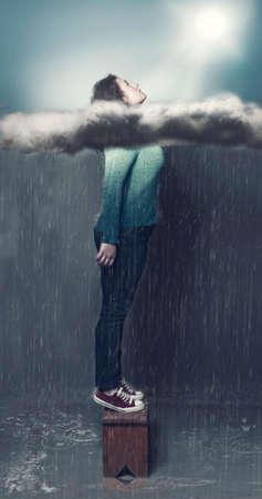 take out: Young girl take out her head through clouds on a rainy weather