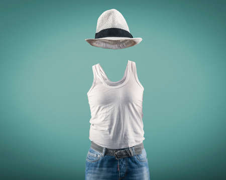 undershirt: Man wearing a undershirt and hat while his  body is invisible