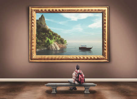 art museum: Young man with a backpack admiring a beautiful paint of a landscape in a museum Stock Photo