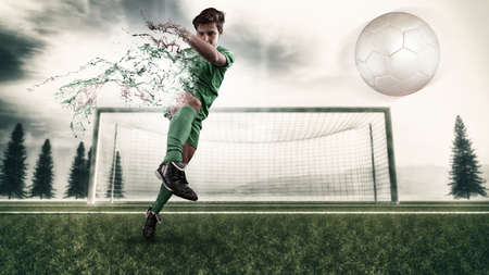 decompose: Football player shooting the ball and decompose . Splatter and dispersion effect