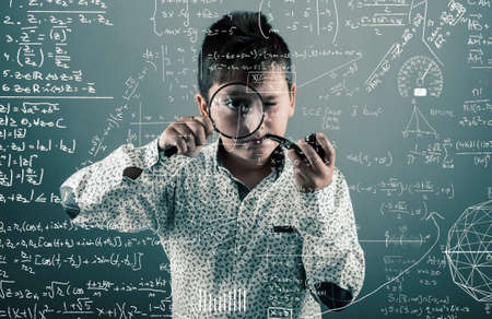 tenager: Kid with a pipe look through  magnifying glasses to mathematical formulas and problems.