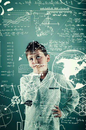 thoughful: Thoughful kid look through to mathematical formulas and problems.