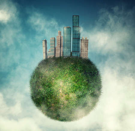 desing: City on green globe of earth in the sky