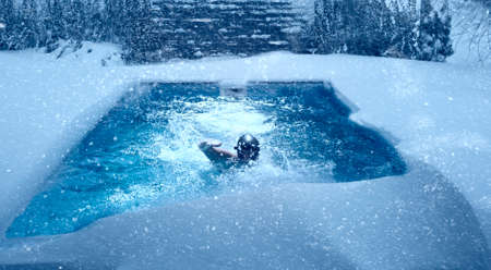 Swimming in pool during winter.