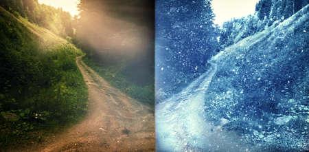 Landscape half summer-half winter. the concept of changing seasons