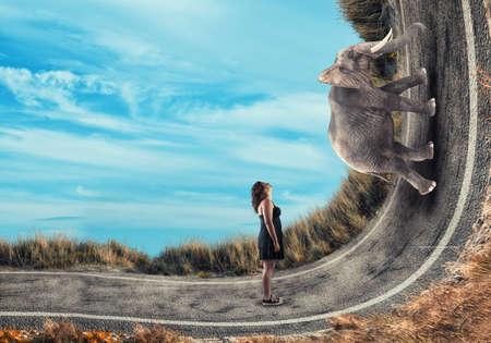 ベンド道路を上って象を探している少女。 写真素材