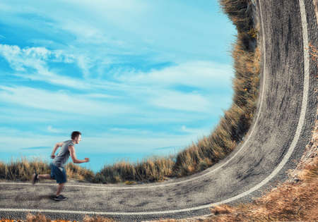 Athlete running on a bend road.