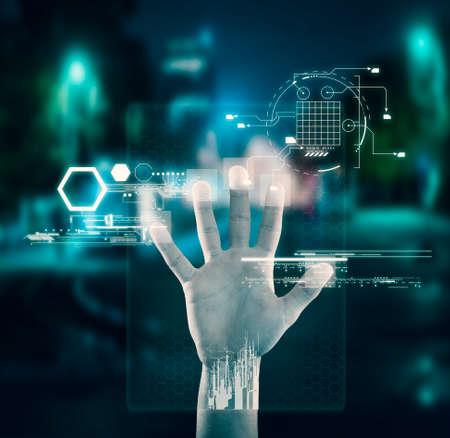 Hand on a touchscreen hologram. Fingerprint verification
